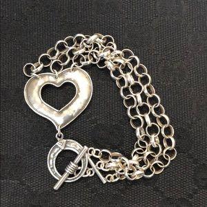 Silpada 3-Strand Sterling Silver Heart Bracelet